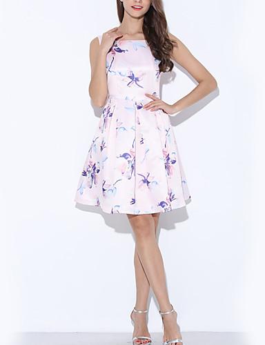 Damen Hülle Kleid-Ausgehen Lässig/Alltäglich Sexy Einfach Niedlich Blumen Bateau Knielang Ärmellos Rosa Polyester Frühling SommerHohe