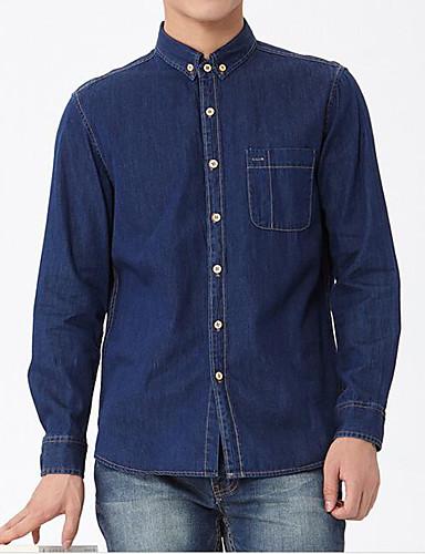 Herren Solide Einfach Arbeit Hemd,Bateau Langarm Baumwolle Polyester