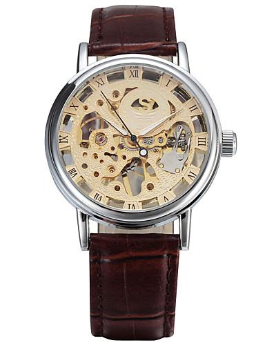 Hombre Reloj Deportivo / Reloj de Moda / Reloj de Vestir Calendario / Esfera Grande Cuero Auténtico Banda Vintage / Casual Múltiples Colores / Cuerda Automática