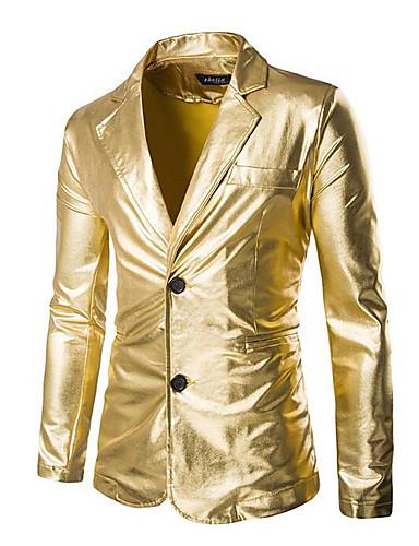 Masculino Terno Casual Moda de Rua Todas as Estações,Sólido Preto Dourado Prateado Algodão Decote em V Profundo Manga Longa