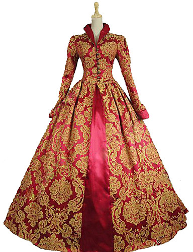 cheap Sale-Queen Elizabeth Vintage Rococo Victorian Costume Women's Dress Party Costume Masquerade Ball Gown Red Vintage Cosplay Lace Satin Party Prom Long Sleeve Poet Sleeve Long Length Ball Gown Plus Size