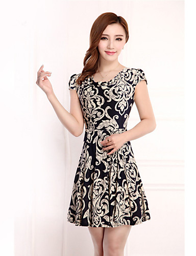 e14432d87ef Women s Plus Size Daily Vintage Petal Sleeves   Butterfly Sleeves Loose    Sheath   Skater Dress - Jacquard Flower   Ruffle   Ruched Crew Neck Summer  Black ...