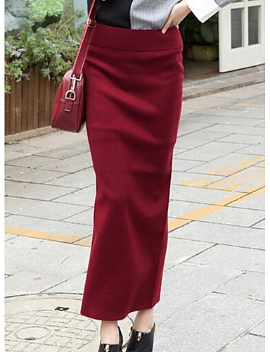 Damen Einfach Ausgehen Lässig/Alltäglich Knie-Länge Röcke Bodycon, Polyester Solide Sommer
