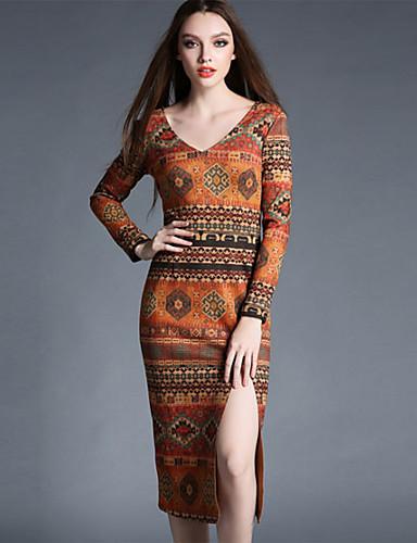 Damen Bodycon Hülle Kleid-Formal Retro Druck Rundhalsausschnitt Asymmetrisch ¾-Arm Orange Baumwolle Polyester Frühling Mittlere Hüfthöhe