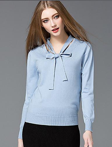 Damen Kurz Pullover-Ausgehen Lässig/Alltäglich Niedlich Solide Blau Weiß V-Ausschnitt Langarm Baumwolle Nylon Frühling Dünn