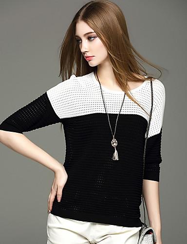 Damen Kurz Pullover-Ausgehen Niedlich Solide Blau Schwarz Rundhalsausschnitt Kurzarm Nylon Frühling Mittel Mikro-elastisch