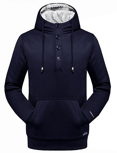 Herren Kapuzenshirt Übergröße Ausgehen Lässig/Alltäglich Einfach Aktiv Solide Rundhalsausschnitt Unelastisch Baumwolle Acryl Polyester