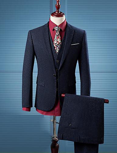 Hombre Simple Chic de Calle Casual/Diario Trabajo Para Todas las Temporadas trajes,Solapa de Pico Estampado Manga Larga Algodón Azul