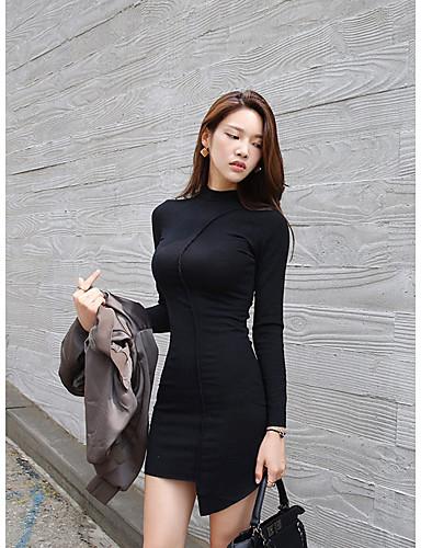 Damen Bodycon Kleid-Lässig/Alltäglich Sexy Solide Rundhalsausschnitt Übers Knie Langarm Baumwolle Winter Hohe Hüfthöhe Mikro-elastisch