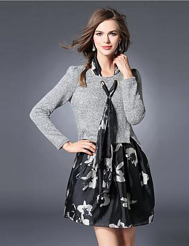 Damen Hülle Kleid-Arbeit Niedlich Solide Rundhalsausschnitt Übers Knie Langarm Grau Acryl Polyester Herbst Mittlere Hüfthöhe