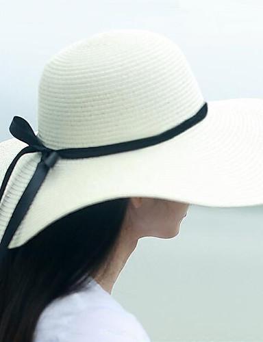 שחור בז' חאקי כובע עם שוליים רחבים אחיד פשתן קש רשת קיץ יום יומי בגדי ריקוד נשים