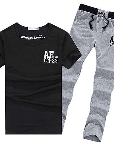 50290af2ac518a Men s Running T-Shirt With Pants White Black Grey Sports Solid Colored  Clothing Suit Exercise   Fitness Leisure Sports Badminton Short Sleeve  Activewear ...