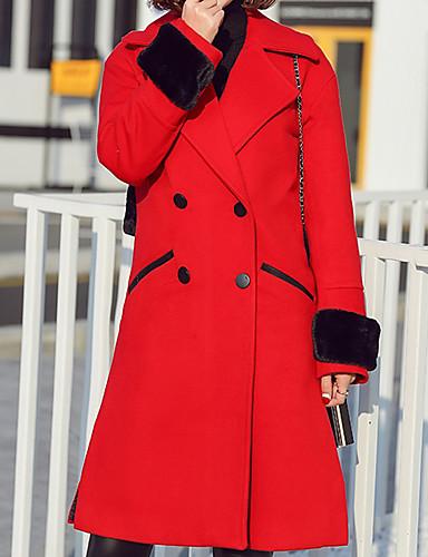 Damen Solide Einfach Lässig/Alltäglich Mantel Langarm Rot Dick Polyester