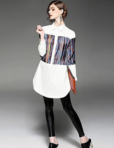 Damen Hülle Kleid-Lässig/Alltäglich Einfach Niedlich Street Schick Druck Quadratischer Ausschnitt Übers Knie Langarm PolyesterFrühling