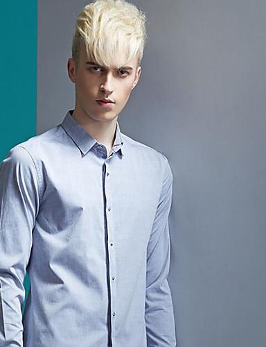Herren Solide Street Schick Lässig/Alltäglich Hemd,Hemdkragen Langarm Grau Modal
