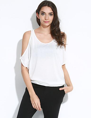 Mulheres Camiseta Diário Sensual Moda de Rua Verão, Sólido Algodão Ombro a Ombro Manga Curta