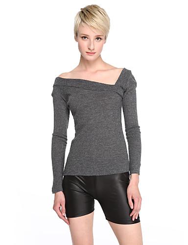 Polyester Spandex Medium Langermet,Asymmetrisk T-skjorte Ensfarget Høst Enkel Fritid/hverdag Dame