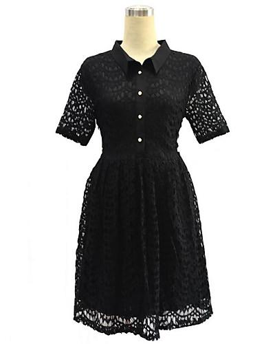 Damen Spitze Kleid-Übergröße Retro Solide Hemdkragen Knielang Kurzarm Polyester Frühling Hohe Hüfthöhe Mikro-elastisch Mittel