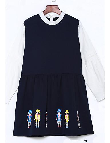 Damen Alltag Ausgehen Niedlich Etuikleid Übers Knie Kleid Geometrisch Rundhalsausschnitt Langarm