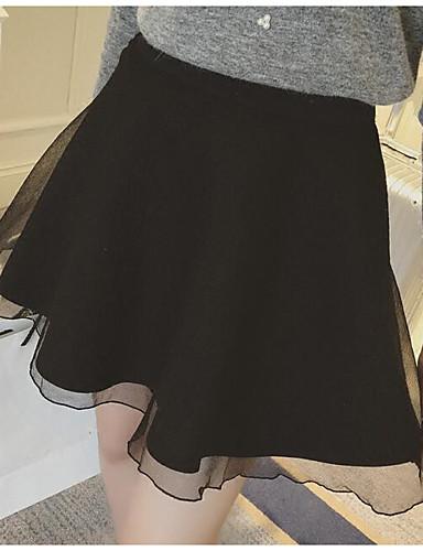 Damen Mittlere Hüfthöhe Über dem Knie Röcke A-Linie einfarbig