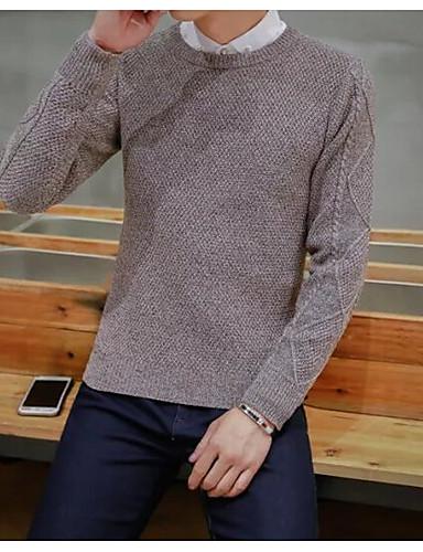 Herren Standard Pullover-Ausgehen Lässig/Alltäglich Einfach Solide Rundhalsausschnitt Langarm Andere Frühling Herbst Mittel