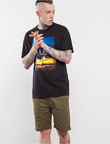 Herren Solide Boho Lässig/Alltäglich T-shirt,Rundhalsausschnitt Sommer Kurzarm Baumwolle Dünn