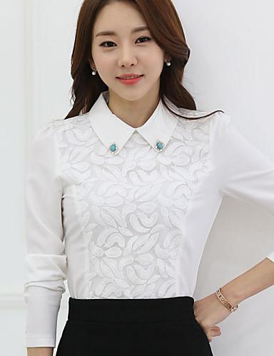 Mulheres Blusa Casual Plus Sizes Todas as Estações,Sólido Branco Poliéster Colarinho de Camisa Manga Longa Média