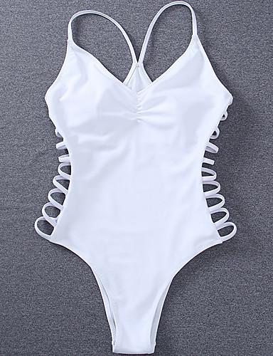 abordables Bañadores de Una Pieza-Mujer Con Tirantes Blanco Pícaro Una Pieza Bañadores - Un Color Acordonado S M L Blanco / Súper Sexy