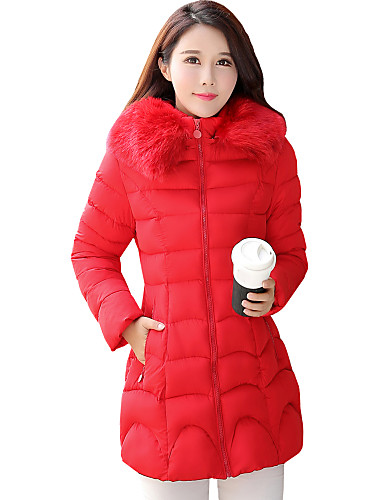 Langærmet Normal Vatteret Damer Frakke,Simpel Gade I-byen-tøj Afslappet/Hverdag Plusstørrelser Ensfarvet-Polyester Polypropylen Hætte
