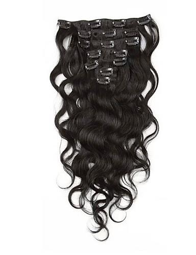 billige Skjønnhet og hår-Klipp På Hairextensions med menneskehår Krop Bølge Ubehandlet hår Hairextensions med menneskehår Brasiliansk hår Dame Aske Brun