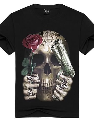 Homens Camiseta - Esportes Activo / Punk & Góticas Estampado Algodão Decote Redondo / Manga Curta