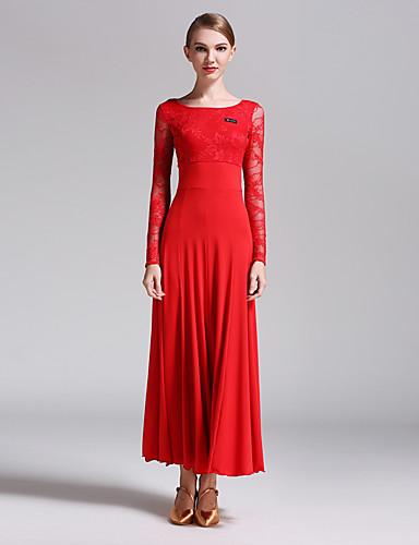 رخيصةأون ملابس الحفلات الراقصة-Ballroom Dance الفساتين للمرأة أداء دانتيل / ألياف الحليب دانتيل كم طويل ارتفاع متوسط فستان