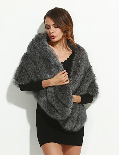 Rund hals 1/2 ærmelængde Tyk Dame Grå Ensfarvet Vinter Gade Afslappet/Hverdag Pelsfrakke,Imiteret pels