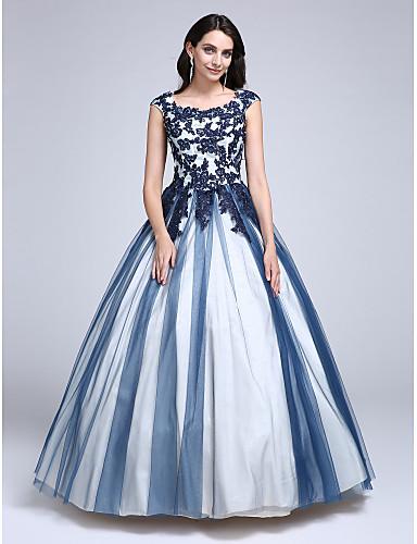Ballkleid Prinzessin U-Ausschnitt Boden-Länge Spitze Tüll Abiball Kleid mit Perlenstickerei Applikationen durch TS Couture®