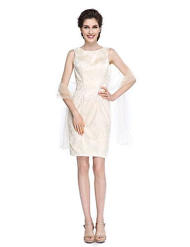 מעטפת \ עמוד עם תכשיטים באורך  הברך תחרה שמלה לאם הכלה  - תחרה על ידי LAN TING BRIDE®