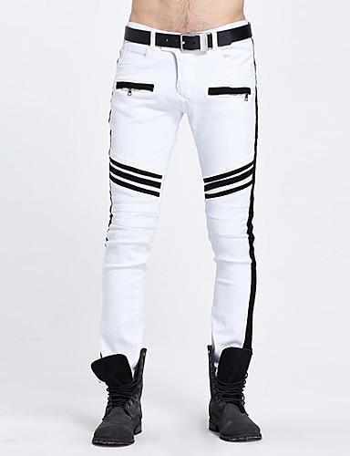Herre Punk & Gotisk Bomull Skinny Rett / Jeans / Chinos Bukser Stripet / Helg