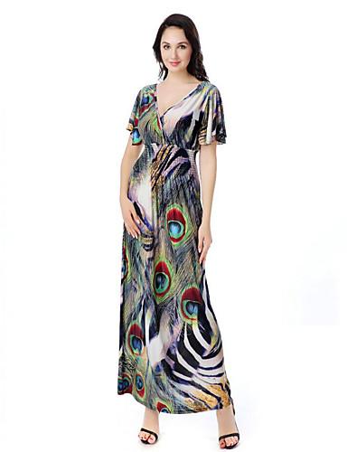 طويل للأرض رقبة V طباعة فستان متأرج قياس كبير بوهو شاطئ للمرأة