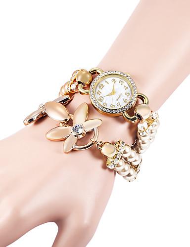 Mulheres Quartzo Simulado Diamante Relógio Bracele Relógio imitação de diamante Plastic Banda Com Pérolas Elegant Fashion Branco Cáqui