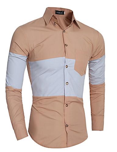 Hombre Algodón Camisa Bloques / Manga Larga