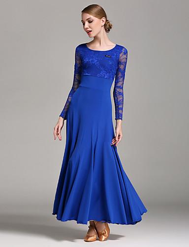 preiswerte Tanzkleidung für Balltänze-Für den Ballsaal Kleider Damen Leistung Spitze / Milchfieber Spitze Langarm Normal Kleid