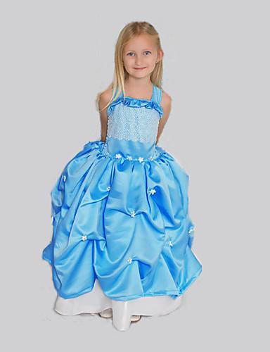 Menina de Vestido Para Noite Sólido Primavera Verão Sem Manga Azul