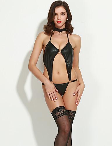 Women's Sexy Patent Leather Piece Nightwear