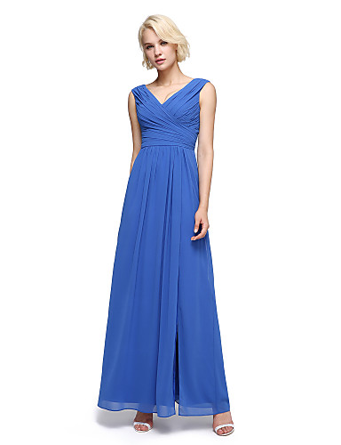 b11b10980f6 A-Line V Neck Ankle Length Chiffon Bridesmaid Dress with Criss Cross    Ruched by LAN TING BRIDE®