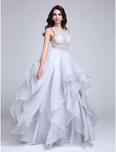 A-Linie U-Ausschnitt Boden-Länge Organza Abiball Formeller Abend Kleid mit Spitze durch TS Couture®