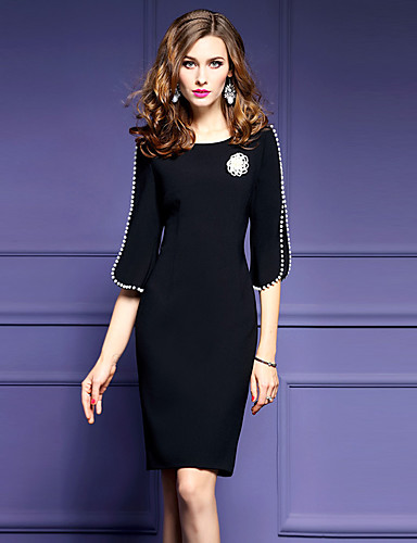 Women's Plus Size Going out Street chic Shift Dress - Solid Colored Black
