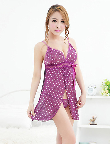 Women's Suits Nightwear Polka Dot Organza Purple