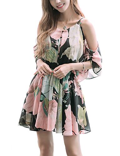 Women's Beach Loose Chiffon Dress Print Strap