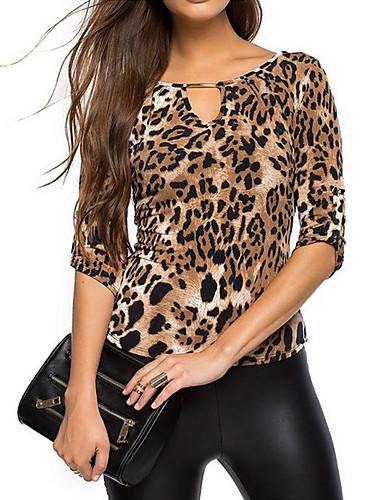 V-hals T-skjorte Dame - Leopard
