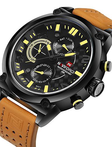 NAVIFORCE Hombre Reloj Deportivo / Reloj Militar / Reloj de Pulsera Calendario / Resistente al Agua / Cool Piel Banda Lujo Negro / Naranja / Acero Inoxidable