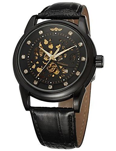 Hombre Reloj de Moda / Reloj de Vestir / Reloj de Pulsera Cuero Auténtico Banda Encanto / Lujo / Casual Múltiples Colores / Cuerda Automática